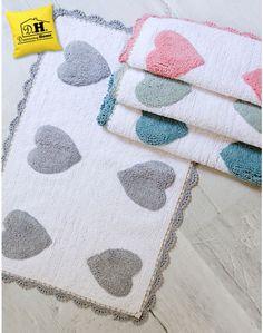 Tappeto Bagno shabby Chic Cuore a Cuore con crochet Blanc Mariclo Colore Naturale / Grigio