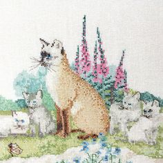 Mother cat with kittens country decoration by Sweetlakevintage, $35.00