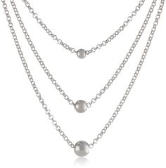 Sterling Silver Triple Bead Necklace, 18' -- Want additional info valentines gift ideas? Click on the image.