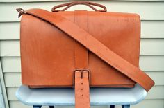 HANDMADE LEATHER BAG by Little Lion Man - Suit Case Luggage Briefcase Messenger Hip Waxed Veg Tan Copper Laptop Hand Stitched