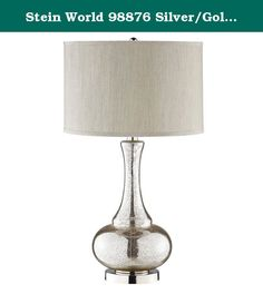 Stein World 98876 Silver/Gold Glass Gourd Table Lamp. Deceptively simple, this classic table lamp is exceptionally stunning. Its gourd shape is embellished with a silver and gold Crackle metallic finish, a round chrome metal base, and a round hardback fabric shade.