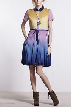ombre pleated shirtdress via Anthro