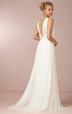 Fashionable A-line Floor-length V-neck Ruffle Dress - New Arrival Wedding Dresses - Wedding Dresses