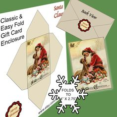 Classic Vintage Easy-Fold GIFT CARD envelope. 514 Santa, Angel, Church, Christmas tree, Holly Digital file for you to print. by ArtToArt on Etsy https://www.etsy.com/ca/listing/249850140/classic-vintage-easy-fold-gift-card