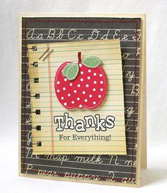 This article is about homemade teacher appreciation gifts. It includes ideas for 10 different personalized unique gifts that you and your kids can make for their teachers. Teacher Appreciation Cards, Teacher Thank You Cards, Teacher Gifts, Diy Cards Thank You, Teacher Stuff, Scrapbook Supplies, Scrapbook Cards, Personalised Gifts Unique, Unique Gifts