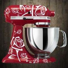 roses white Kitchen aid mixer decals