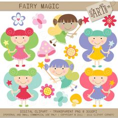 Digital Clipart  Fairy Magic DC3786 by ClipArtCorner on Etsy, $3.50