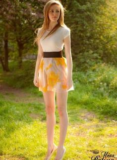 A light and airy hand-printed sheer fabric flared skirt; ribbed elastic waist; skirt is fully lined. by Miss Patina.