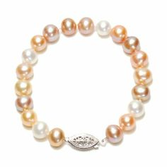 """Sterling Silver Natural Pastel Multi-Color Freshwater Cultured Pearl A Grade 8.5-9mm Bracelet, 8"""" Amazon Curated Collection. $59.00. Pearls may have been treated to improve their appearance or durability and may require special care.. Made in China"""