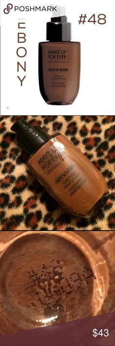 MAKE UP FOR EVER FACE AND BODY LIQUID MAKEUP EBONY MAKE UP FOR EVER FACE AND BODY LIQUID MAKEUP ~ SHADE IS EBONY #48 ~ USED ONCE/ STILL FULL ~ 💯% AUTHENTIC ~ NO BOX ~ NO LID ~ THIS COLOR HAS BEEN DISCONTINUED ~ PLEASE MAKE ME AN OFFER Makeup Forever Makeup Foundation