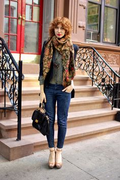 Scarf, blazer, jeans, and heels