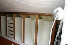 IKEA hack for a knee-wall Wall Closet, Wall Storage, Sleeping Loft, Knee Wall, Small Bathroom, Closet Designs, Loft Room, Bedroom Addition, Cabin Style