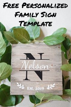 How to make last name family est sign. DIY farmhouse style home decor. Joanna Gaines would approve of this fixer upper inspired wall decoration. # Home Decor signs Free DIY Family Established Signs Template Family Wood Signs, Diy Wood Signs, Family Name Signs, Rustic Wood Signs, Monogram Template, Free Monogram, Sign Templates, Established Family Signs, Monogram Signs