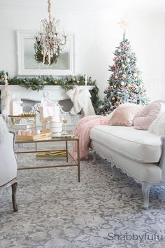 How to decorate for Christmas with a modern blush and gold style. French country Christmas style ideas.
