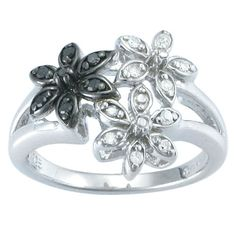 Sterling Silver Black and White Diamond Flowers Ring