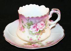 Lefton Bone China Tea Cup Saucer Set Vintage England 2758 Roses Hand Painted   eBay
