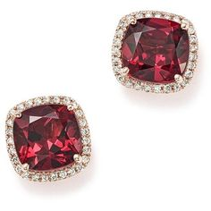 Cushion-Cut Rhodolite Garnet and Diamond Halo Earrings in 14K Rose... ($1,500) ❤ liked on Polyvore featuring jewelry, earrings, rose gold earrings, 14 karat gold stud earrings, garnet earrings, garnet jewelry and 14k rose gold earrings