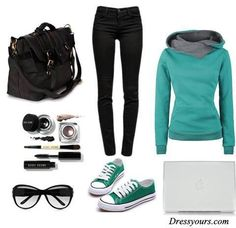 This is cute black jeans with a mint and grey top then those shoes