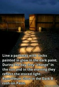 Stone pathway painted with glow in the dark paint (Rust-Oleum Glow in the Dark Brush-on Paint). During the day they charge in the sun and in the evening they reflect the stored light. Backyard Projects, Outdoor Projects, Cool Backyard Ideas, Outdoor Walkway, Backyard Pool Landscaping, Stone Walkway, Pool Ideas, Back Yard Ideas For Small Yards, Back Yard Patio Ideas