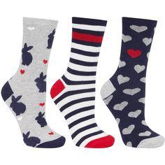 John Lewis Rabbit Heart Ankle Socks, Pack of 3, Multi (86 SEK) ❤ liked on Polyvore featuring intimates, hosiery, socks, patterned hosiery, patterned ankle socks, john lewis hosiery, tennis socks and print socks