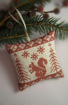 Cross Stitched Folk Art Christmas Redwork Linen by CherieWheeler, $9.00