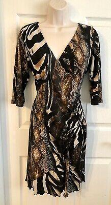 Joseph Ribkoff Faux Wrap Dress Size 12 Black Brown Animal Print 14 Uk Cocktail Ebay In 2020 Faux Wrap Dress Wrap Dress Black And Brown