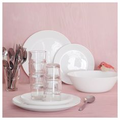 IKEA - OFTAST, Side plate, white, Made of tempered glass, which makes the side plate durable and extra resistant to impact. Dishwasher and microwave-safe. Wash this product before using it for the first time. Plates And Bowls, Side Plates, Recycling Facility, Four Micro Onde, Uni Room, Kitchenware, Tableware, Packaging, Favors