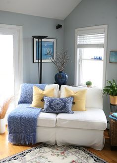 Joanne and Brian's Cottage by the Sea — House Tour Paint - Benjamin Moore Smoke White Bedroom Furniture, Gray Bedroom, Living Room Furniture, Living Room Decor, Master Bedroom, Furniture Decor, Modern Furniture, Bedroom Decor, Extra Bedroom