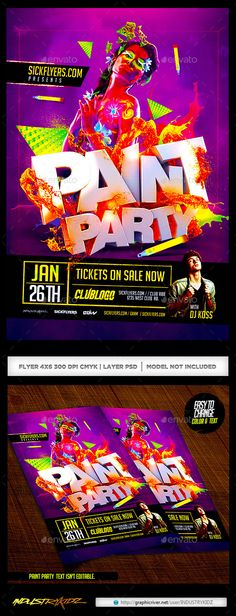 Paint Party Flyer / Glow In the Dark — Photoshop PSD #glow in the dark #Glow paint • Available here → https://graphicriver.net/item/paint-party-flyer-glow-in-the-dark/9825741?ref=pxcr