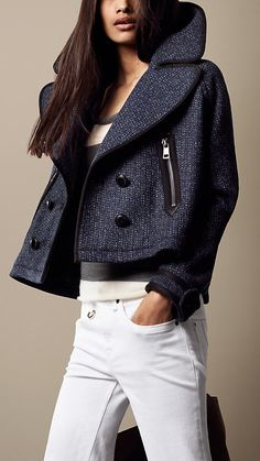 Oversize Cropped Pea Coat   Burberry