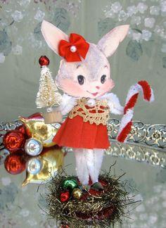 Vintage Inspired Christmas PiNk SuGaR SwEeT Christmas Bunny Keepsake Paper Posy Doll