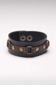 Unique Leather Wristband with Funky Square-shaped Leather Covered Buttons statement piece; bracelet; cuff bracelet; leather jewelry