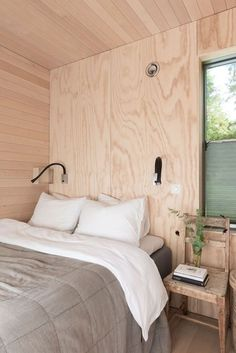 Knock on wood - French By Design Plywood House, Plywood Walls, Wood Bedroom, Bedroom Decor, Plywood Interior, Shed Homes, Cottage Interiors, Beautiful Bedrooms, Interior Architecture