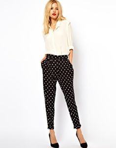 Love this polka dot pants and loose-fitting blouse look. but would pair with brightly colored heels. maybe in this year's pantone color of the year (emerald)?