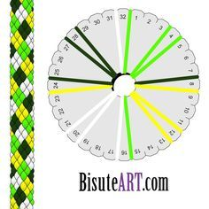 16 strings, 4 color argyle: 4 x each of dark green, bright green, yellow, white