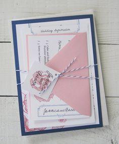 Vintage Rose Hochzeitseinladung rosa Blume von RiverCityStudio