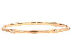 14K ROSE GOLD BARK DESIGN AND ROUND DIAMOND BANGLE