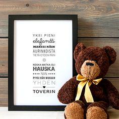Lastenlaulut ja lorut – Pikkunorsu Teddy Bear, Toys, Frame, Animals, Decor, Animales, Decoration, Decorating, Animaux