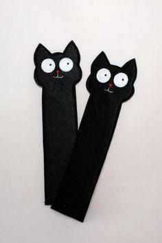 Felt – Zakładka czarny kot do książki – a unique product by Solae on DaWanda