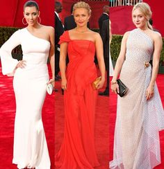 The asymmetrical gown can be done a number of ways. Take a look at how differently Kim Kardashian West, Hayden Panettiere and Chloe Sevigny rocked the trend at the 2009 Emmys. Kim wore a white long-sleeved Ina Soltani gown, Hayden sported a red cap-sleeved J. Mendel number, and Chloe donned a black-and-white polka-dot one-shoulder Isaac Mizrahi gown.