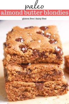 Paleo Almond Butter Blondies that are easy, healthy, and gluten-free. Who doesn't want to eat a healthy blondie made with healthy ingredients and takes less than thirty minutes? Paleo Dessert, Healthy Dessert Recipes, Paleo Recipes, Gourmet Recipes, Paleo Food, Paleo Meals, Paleo Diet, Eating Paleo, Free Recipes
