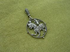 Lion Talisman. Replica of ancient Slavic Talisman. Witch pagan talisman. Viking jewelry. Scandinavian nordic magic amulet.   Size 30 mm  Material: Sterling silver 925, bronze Production technology – casting. Handmade.   This pendant is a replica of ancient slavic talisman. Lion was a symbol of courage, speed, stamina, strength and greatness.