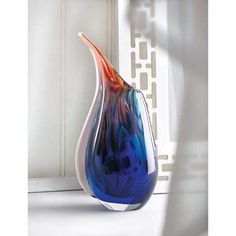 Home Vase Colorful Flower Filler Glass Bright Blue Centerpiece Unique Tabletop Decorative Elegant Art Decor