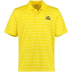 2016 PGA Championship adidas Puremotion 2-Color Stripe Jersey Polo - Yellow