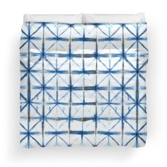 Barbed Wire in Indigo Duvet Covers by PolkaDotStudio on Redbubble, #new #blue #indigo hand #tie #dyed #graphic #Bohemian #art on #duvet covers for #fashion #home #decor for the #bed #bedroom #apartment or #gift