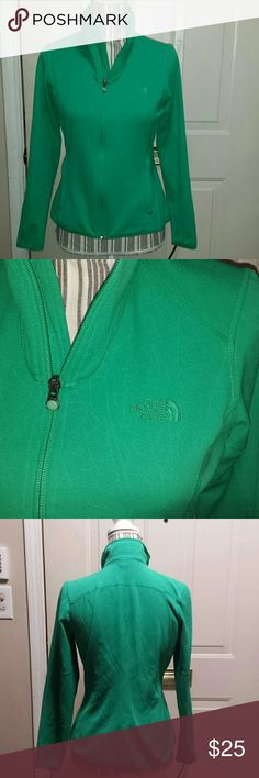 North Face zip jacket Unique green jacket with pale abstract design all over it. Zip pockets. North Face Tops Sweatshirts & Hoodies