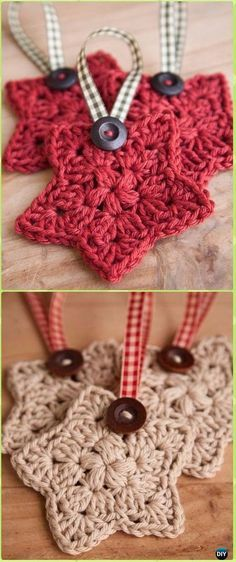 original pattern here: Crochet Star Ornament Free Pattern – Crochet ChristmasTruly Tempting Crochet Ornaments For KidsThis cute and free Crochet Christmas Ornament pattern would also make a fabulous decoration for your of July BBQ! Crochet Christmas Decorations, Crochet Ornaments, Holiday Crochet, Christmas Knitting, Diy Christmas Ornaments, Christmas Star, Snowflake Ornaments, Free Christmas Crochet Patterns, Crochet Christmas Gifts