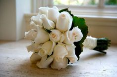 Hand Tied Wedding Bouquet Of Beautiful White Akito Roses + Green Foliage