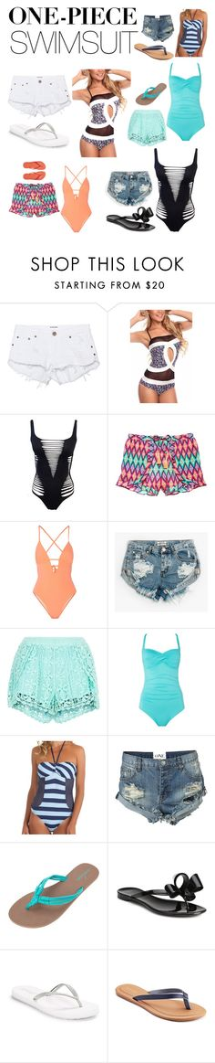 """""""One Piece bathing Suits - my style"""" by kotnourka ❤ liked on Polyvore featuring One Teaspoon, Agent Provocateur, Victoria's Secret, Tart, New Look, Seafolly, Splendid, Volcom, Valentino and Reef"""