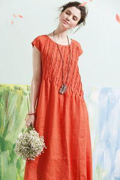 Linen Dress In Orange Tunic Dress Midi Dress Beach Dress